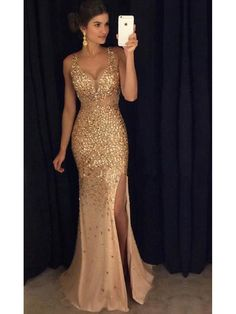 Mermaid V-Neck Gold Sequins Beads Long Prom Dresses Party Evening Gowns 99602249