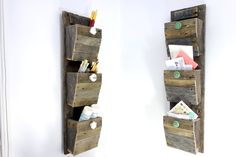 Personalized Mail Organizer - Reclaimed Wood Wall Hanging Entry Organizer - Go Green -  Rustic 3 Bin Mail Sorter 93100 by ProsserBrosVtg on Etsy https://www.etsy.com/listing/125115297/personalized-mail-organizer-reclaimed