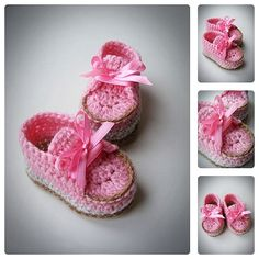 Crochet Pink Baby Girl Shoes Spring & Summer Girl by BabesCrochets ♥♥