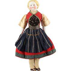 German Bisque Doll Original Complete Ethnic Costume Cabinet Size