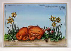 Sleepy Cat:   Sky; B0000, B41, B91, Ground; E40, E41, E42, E43, E44, Short Grass; YG03, YG63, YG67, Plants; G82, G46, G99, Daffodils; Y00, Y11, Y15, Y38, G24, G29, Toadstools, E43, E44, R24, E19, Cat; R11, R20, R22, YR12, YR14, YR18, E07, E19