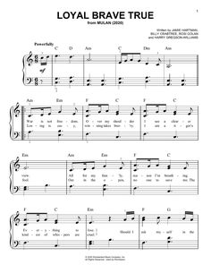 Preview Christina Aguilera Loyal Brave True (from Mulan) Disney sheet music, notes and chords for Piano, Vocal & Guitar (Right-Hand Melody), SKU: 446487