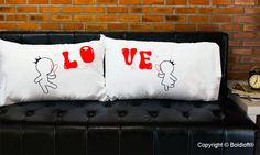 """This whimsically romantic pair of his and hers pillowcases help you tell your sweetheart I'm Bubbling With Love For You – a precious way to remind them they make your life and love complete! BoldLoft """"Bubbling with Love for You"""" Couple Pillowcases. Cute Christmas gifts for boyfriend or husband. #hisandhers #christmasgiftsforboyfriend"""