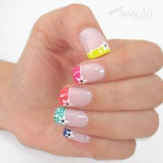 Summer nails design 76 - All For New Hairstyles Nail Manicure, Toe Nails, Pink Nails, French Nails, Nagel Hacks, Pretty Nail Art, Rainbow Nails, Nagel Gel, Flower Nails