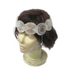 Gold Flapper Headband, Gatsby 1920 flapper Headpiece, Ribbon Headband, Gold Air Accessories, Vintage Rhinestone Jewelry, Fascinator