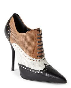 Black & Tan Pointed Toe Brogue Ankle Booties
