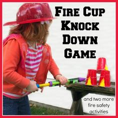 3 Fire Safety Activities - Fire Cup Knock Down Spray Game from Lalymom.com - My kids love this!