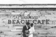 Bride and groom - beach wedding Southsea beach cafe
