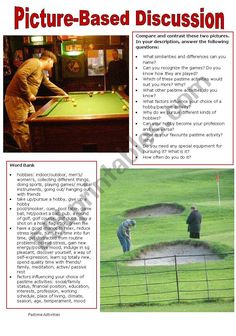 Pictures and questions for discussion about hobbies/pastime activities. Suitable for students preparing for oral exams. A word bank is added to teach/revise vocabulary related to the topic. Hobbies To Take Up, Hobbies For Women, Hobbies That Make Money, Fun Hobbies, Hobby Lobby, Hobby Room, Reading Response, Educational Websites, Teaching English