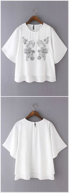 Women Casual Half Sleeve Embroidery Loose Layered Chiffon Blouse.Check more from www.oasap.com .