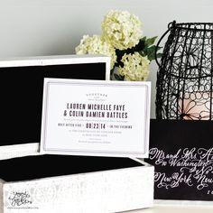 Modern Black Letterpress WeddingInvitations by Sincerely, Jackie