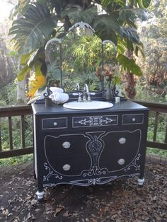 Black and White Sink VanitySAMPLE ONLY by junkdrawerdivas on Etsy