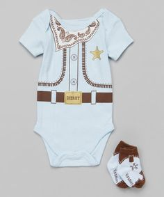 Look what I found on #zulily! Blue 'Sheriff' Bodysuit & Socks - Infant by Vitamins Baby #zulilyfinds