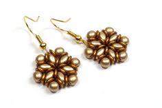 Schmuck selber machen: Ohrringe aus Superduo und O-Beads.  (4mm rounds)