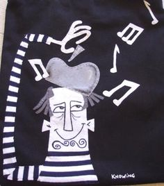 Jazz musician detail, bags for man or woman in black and white. Patchwork Technique. Visa Knowing Design.