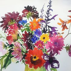They all find homes in the end! This is a watercolour first study I painted last year ( which ended up generating a fab large much looser abstract piece ) I decided to put it in the browser rack in this new exhibition and a lovely couple fell in love with it  #floral #watercolour #painting #art #surrey  #dahlias #fountaingallery #hamptoncourt