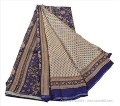 VINTAGE INDIAN SAREE PRINTED FABRIC PURE SILK SARI CRAFT 5 YARD WHITE BLUE #SanskritiVintage #Saree