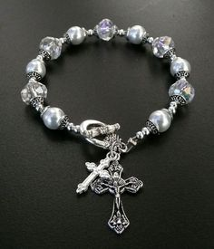 Genuine Czec Glass White Pearl Austrian Crystal Antique Silver Rosary Bracelet