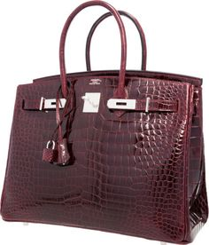 Hermes 35cm Shiny Bordeaux Porosus Crocodile Birkin Bag withPalladium Hardware.