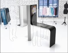 Figure Intel's sleek, futuristic digital signage and point-of-sale kiosk demonstrate how technology can enhance rather than detract from the retail shopping experience. Kiosk Design, Web Design, Retail Design, Flyer Design, Digital Kiosk, Digital Signage, Point Of Sale, Stand Design, Booth Design
