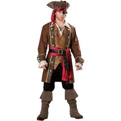 Captain Skullduggery Pirate Costume - Adult, Size: Large, Brown