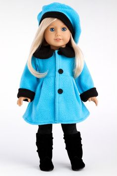 Parisian Stroll - Blue fleece coat with matching beret, black leggings and boots - 18 Inch American Girl Doll Clothes