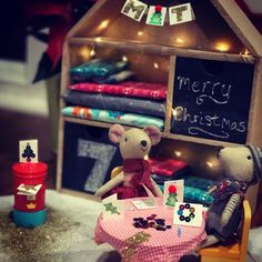 Maileg mice crafting Christmas cards. Magical children's christmas advent calendar. Like elf on the shelf but with mice!