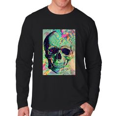 Floral Skull Tattoo Art Unisex Long Sleeve T-Shirt Tee Tattoo T Shirts, Sleeve Tattoos, Tee Shirts, Tees, Floral Skull Tattoos, Tattoo Art, Skull Sleeve, Graphic Sweatshirt, Unisex
