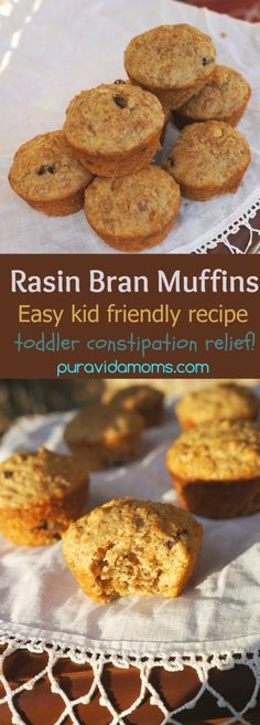 Quick and easy breakfast muffin recipe using Raisin Bran. Great for constipation in toddlers! foods for constipation Easy Breakfast Muffins, High Fiber Breakfast, Healthy Breakfast On The Go, Quick And Easy Breakfast, Toddler Muffins, Breakfast Recipes, Breakfast Ideas, Waffle Recipes, Baby Food Recipes