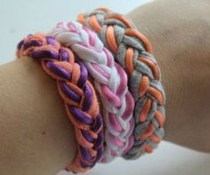 Tutorial: Make A Great Bracelet With A Recycled T-Shirt - Click the image for the Tutorial!