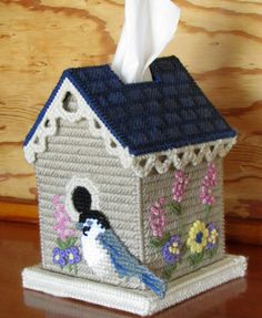 Plastic canvas tissue cover bird house from Mary Maxim... LOVE IT!
