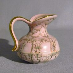 Mid Century Modern Handpainted Pink and Gold Ewer from Jumbo Pottery of Holland.