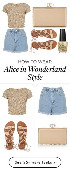 """""""Nude and Gold Outfit"""" by lexi899 on Polyvore featuring Alice + Olivia, Topshop, Billabong, OPI, Judith Leiber and gold"""