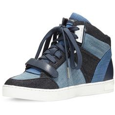 Michael Kors Ollie Denim High-Top Sneaker ($229) ❤ liked on Polyvore featuring men's fashion, men's shoes, men's sneakers, mens flat shoes, mens high top sneakers, mens lace up shoes, mens velcro strap sneakers and mens monk strap shoes