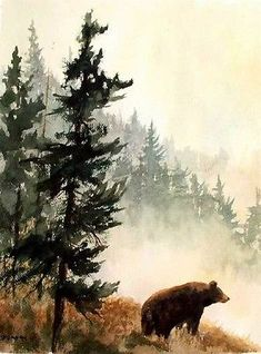 Black Bear Mountains Wildlife Nature Fine Art Watercolor Collector Print
