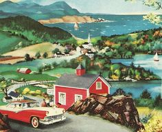 New England - detail from complimentary 1956 Ford Dealership road map