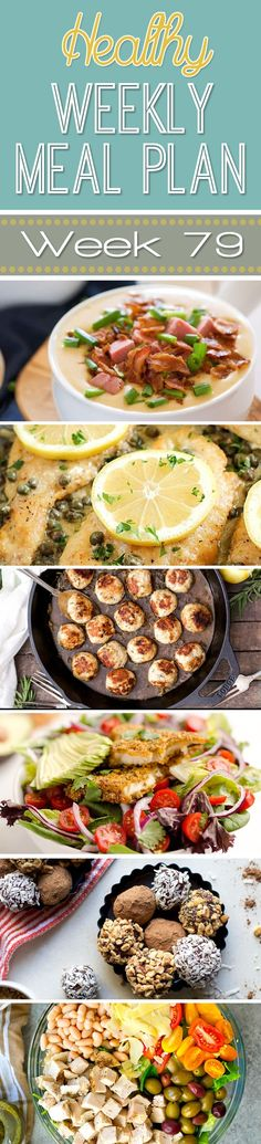 A delicious mix of healthy entrees, snacks and sides make up this Healthy Weekly Meal Plan for an easy week of nutritious meals your family will love! Healthy Weekly Meal Plan, Healthy Menu, Healthy Eating Recipes, Nutritious Meals, Cooking Recipes, Weekly Menu, Healthy Eats, Pork Recipes, Healthy Foods