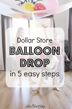 DIY Dollar Store Balloon Drop Create an awesome Balloon Drop in just 5 easy steps with Dollar Store supplies in minutes! Use this for New Year's Eve, birthday parties and celebrations! New Years With Kids, Family New Years Eve, New Years Eve Games, New Years Eve Day, New Years Eve Party Ideas For Family, New Years Eve Toddler, New Years Eve Menu, Vintage Glam, Silvester Diy