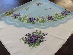 Pretty Violets Vintage Tablecloth 1950's by UppityWomen on Etsy