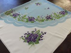 Pretty Violets Vintage Tablecloth 1950's