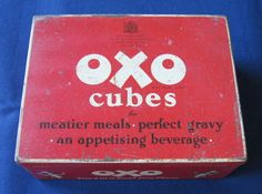 OXO Cubes vintage tin - large 24 x 6 size (1950s) (SOLD Sep. 2007)…