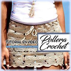 pollera crochet con motivo de circulos video tutorial