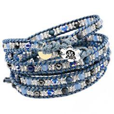 Denim Diva Semi Precious Five Wrap Bracelet