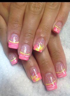 Nails tips Pink tips Dicas-de-rosa Nail Tip Designs, Fingernail Designs, French Nail Designs, Acrylic Nail Designs, Nails Design, Art Designs, Spring Nail Colors, Spring Nails, Summer Nails