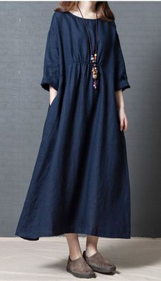 Women Solid Color Dress Long Sleeves Pockets Loose Cotton Simple Casual Dress Spring Size M Color Red Linen Dresses, Casual Dresses, Dresses With Sleeves, Maxi Dresses, Flowing Dresses, Chic Outfits, Spring Outfits, Fashion Outfits, Spring Clothes