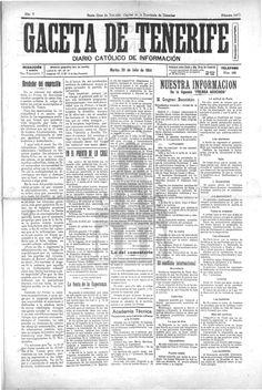 La Gaceta de Tenerife-28 de julio 1914. Página 1: bajo el epígrafe El conflicto internacional se recogen las primeras noticias llegadas desde Europa.