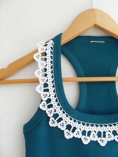 Crocheted Lace Collar Cotton Yarn Top, Blouse, Tunic, Gift For Her, White And Teal Green Halter Top