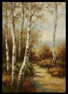 High quality LARGE Original Oil Painting of birch trees in 24x36