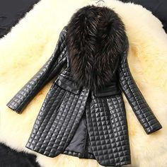 Long Sleeves Solid Color Faux Fur Collar Stylish Long Faux Leather $89.99 – PEDICURE & SHOES 2 GO, LLC