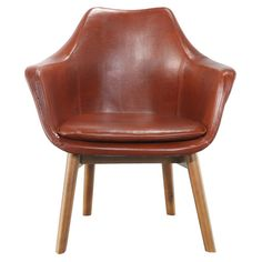 Stately elegance meets midcentury minimalism in this luxe arm chair, featuring handsome Italian leather upholstery and ash wood dowel legs.